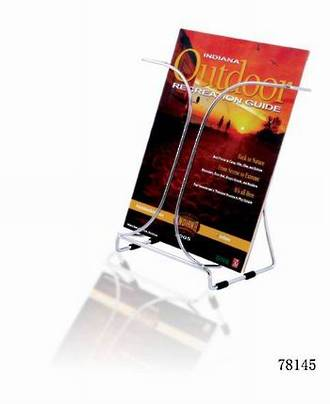 Chrome Wire Brochure Holder, A4, Freestanding with non-slip rubber feet