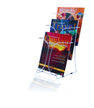 Chrome Wire Brochure Holder, A4 Freestanding with non-slip rubber feet 3 Tier x 1 wide