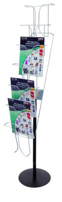 Chrome Wire Brochure Holder. Fixed Floor Stand 7 Tier x 1 Wide- Black pole and base