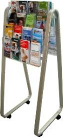 Brochure Holder, Double-sided, DLE Easel Floor Stand. 32 x DLE, 4 rows, 4 wide
